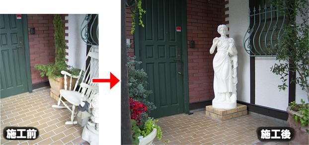 天然大理石彫刻のヴィーナス像の施工設置